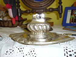 Gyüjteményből, Ezüst tálca ,Benzines Szikra van,,.Német működő ,benzines És egy Kis dekorációs Spany