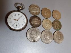 Ezüst csomag /Recta antik ezüst zsebóra+ezüst pénzérmék/