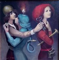 Kolozsvári Grandpierre Miklós, A kulcsos ember című festménye, GARANCIA, SZERTIFIKÁCIÓ