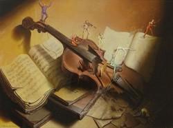 0P215 A. Martins de Barros hegedű és kották nyomat