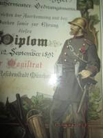 1897 katonai oklevél fa keretben