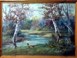 Árzuhanás - Szignált vadászfestmény, 70 x 50,  olaj és mesés
