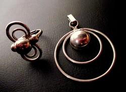 """Ezüst színű """"bolygó"""" medál és gyűrű"""
