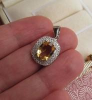 Citrin köves ezüst medál cirkónia kövekkel díszítve - új ékszer