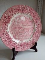 """""""A 17.századi Anglia""""-sorozatból-pink dísztányér-25,5 cm"""