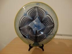 Hatalmas művészi üveg kináló  39,5 cm átmérő   !