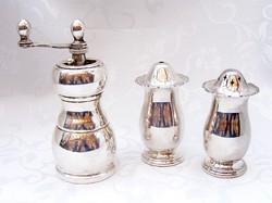 Elképesztő fűszeres hármas, gazdagon ezüstözött két fűszerszóró és egy fűszer őrlő, gyönyörű kivitel