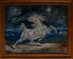 Moona - A villámlástól megriadt ló DELACROIX képének MESTERMÁSOLATA