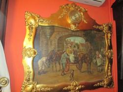 Képóra vaslemezre festett képpel