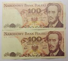 2db lengyel papír 100 zloty 1976-88 NSZ(76) M (88)