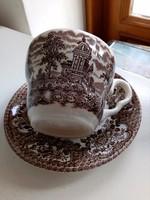 Reneszánsz kastély hattyúkkal angol porcelán-csésze alátéttel (1)