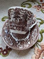 Reneszánsz kastély hattyúkkal angol porcelán-csésze alátéttel(2)