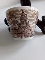 Reneszánsz kastély hattyúkkal- angol porcelán-cukortartó