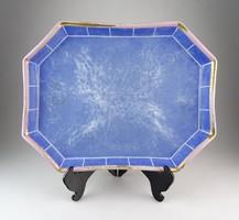 0P563 Antik nagyméretű kék porcelán kínáló tálca