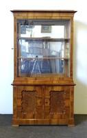 0P642 Antik tükrös Biedermeier vitrin 180 cm
