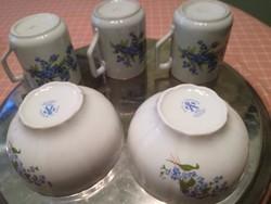 Zsolnay kék nefelejcs virágos bögrék ,tálkák