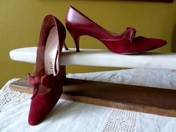Vintage ökörvér színű körömcipő női cipő bőrcipő magassarkú cipő 50-es 60-as évek
