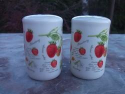 Új-Eper motívumos Fűszerszóró pár-só-borsszóró angol finom porcelán-ajándékba is