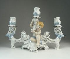 0P430 Jelzett angyal díszes porcelán gyertyatartó