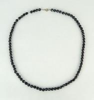 0P477 Régi fekete női bizsu nyakék lánc 68 cm