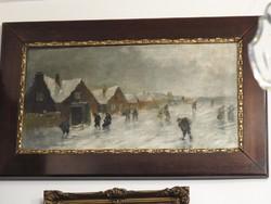 Téli falusi életkép - olajfestmény, szignált 1900 - as évek eleje.