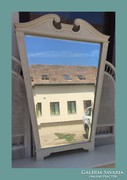 Gyönyörű fazettás nagy tükör 124X89cm