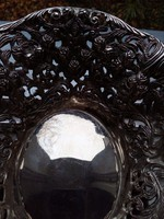 Áttört,szecessziós,dombor rózsamintás ezüstözött ovális magas dísztál-20x6,5 cm