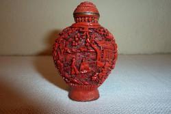 Régi kínai vörös cinóber illatszeres üvegcse