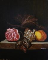 Moona - Csendélet rózsával,szőlővel,barackkal BORMAN festényének MESTERMÁSOLATA