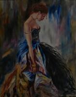 Moona - Kék ruhás hölgy ANNA RAZAMUSKAYA festmény MESTERMÁSOLATA