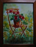 Moona - Muskátli széken TOUTOUNOV festményének MESTERMÁSOLATA