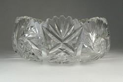 0P573 Csiszolt üveg gyümölcskínáló kristály tál