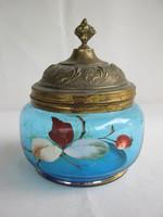 Csipkebogyós régi kék üveg réz fedeles bonbonier cukortartó