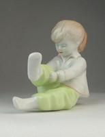 0P584 Jelzett Aquincumi porcelán kislány figura