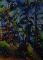 Moona - Fenyőfák CEZANNE festményének mestermásolata