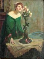 Nagy Vilmos 1907 / SZECESSZIÓS KÉP Lány sárga rózsával