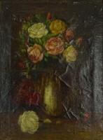 0P680 Ismeretlen festő : Rózsák fehér vázában
