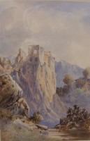 Antik vegyes technika festmény (1884)