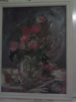 Nagy régi festmény, csendélet keretben 70x90 cm