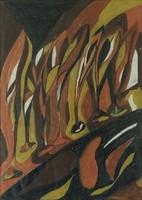 0P696 Ismeretlen festő : Őszi fasor