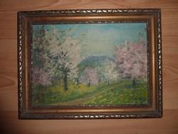 Olga jelzéssel: Domboldal virágzó fákkal, régi olaj-vászon
