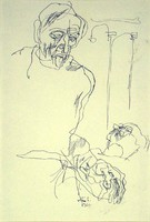 Szász Endre : Jelenet (könyvillusztráció) 1965