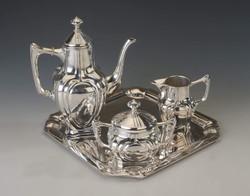 Ezüst szecessziós teás-/ kávéskészlet