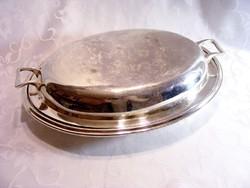 Háromrészes antik ezüstözött fedeles kínáló tál sültnek és köretnek, a fedél megfordítva + 1 kínáló