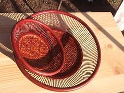 Lakkozott asztali  nádkosár-kenyeres-gyümölcsös átm.15/24 cm