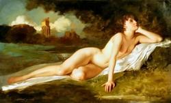Szánthó Mária (1902-1994): Akt tájban (Álmodozó szépség)