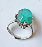 Állítható méretű, zöld köves 925-ös gyűrű