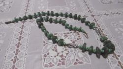 Zöld valódi achát + gyöngy garnitúra, szett – át kell alakítani
