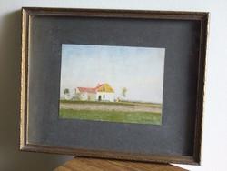 29x33cm /16x12cm : Solymásy parasztház festmény keretben