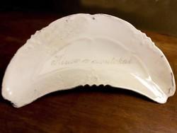 Lüszteres porcelán csontos tányér, csontos tál